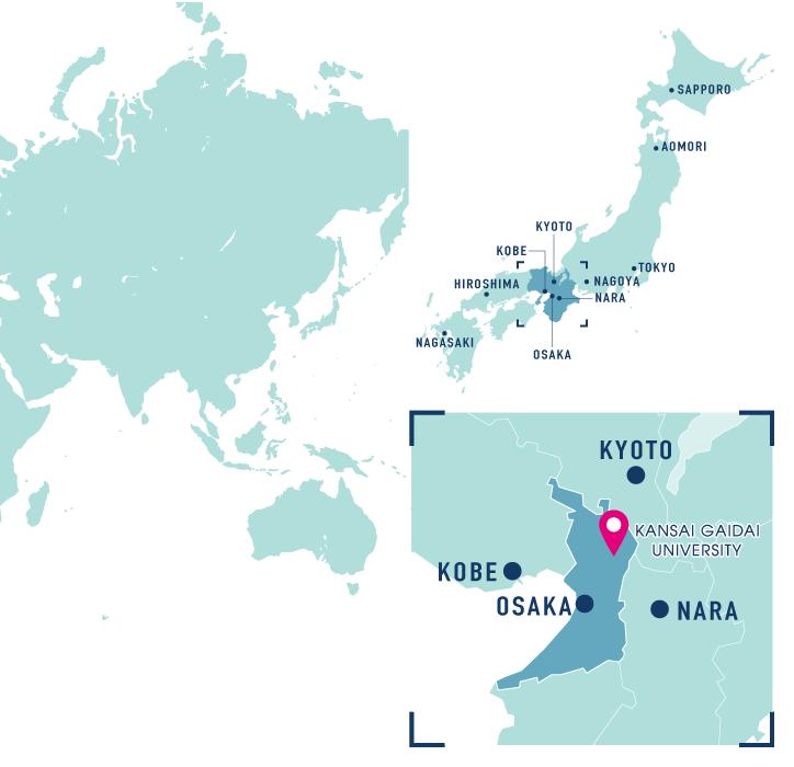Location | ABOUT | KANSAI GAIDAI UNIVERSITY ASIAN STUS PROGRAM on calicut world map, jakarta on world map, beijing on world map, nagasaki on world map, malacca on world map, mecca on world map, gobi desert on world map, luanda on world map, osaka on world map, lima on world map, okinawa on world map, philadelphia on world map, mombasa on world map, xian on world map, hokkaido on world map, annam on world map, agra on world map, canton on world map, lhasa on world map, lisbon on world map,